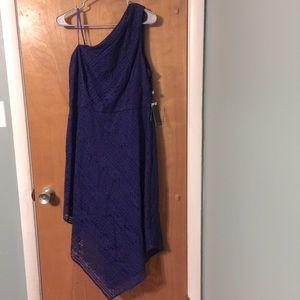 NWT Adrianna Papell navy lace midi dress